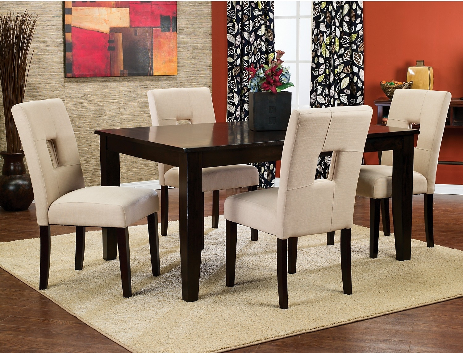 Dining Room Furniture - Dakota 5-Piece Dining Package with Beige Chairs