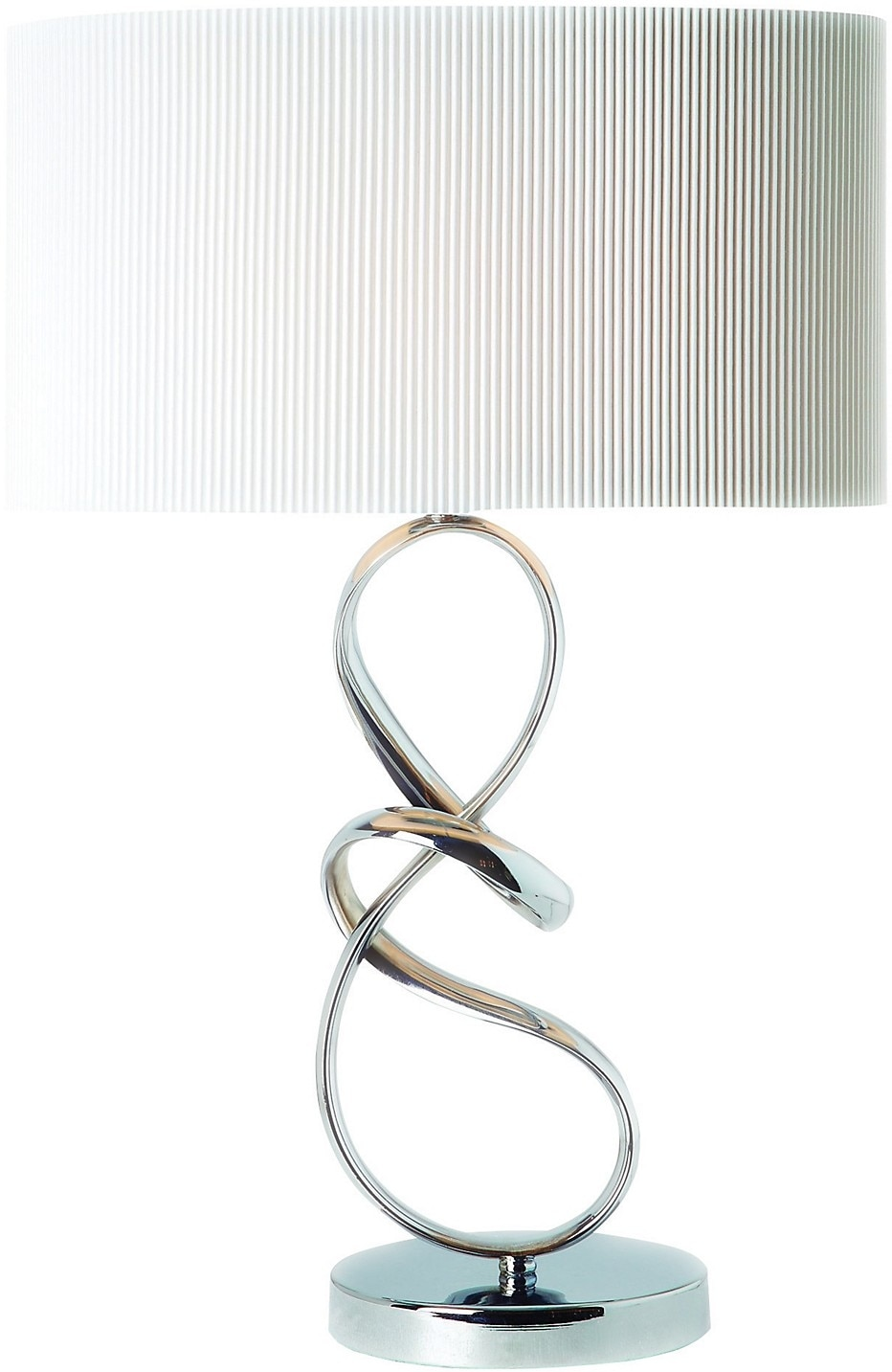 Home Accessories - Chrome Table Lamp with White Shade