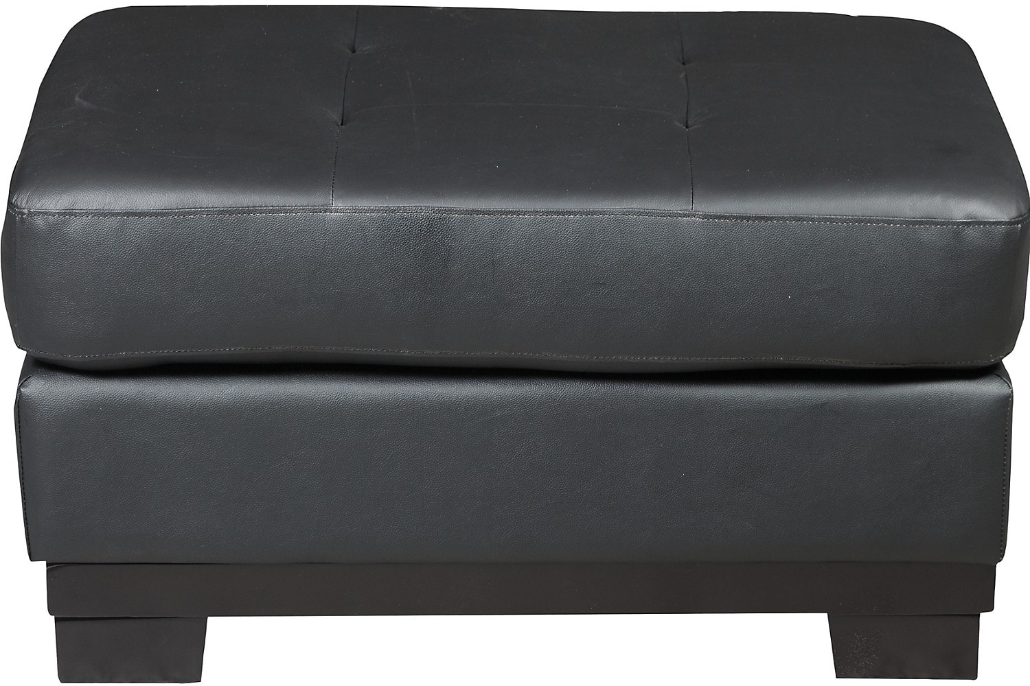 Living Room Furniture - Oakdale Genuine Leather Ottoman - Black