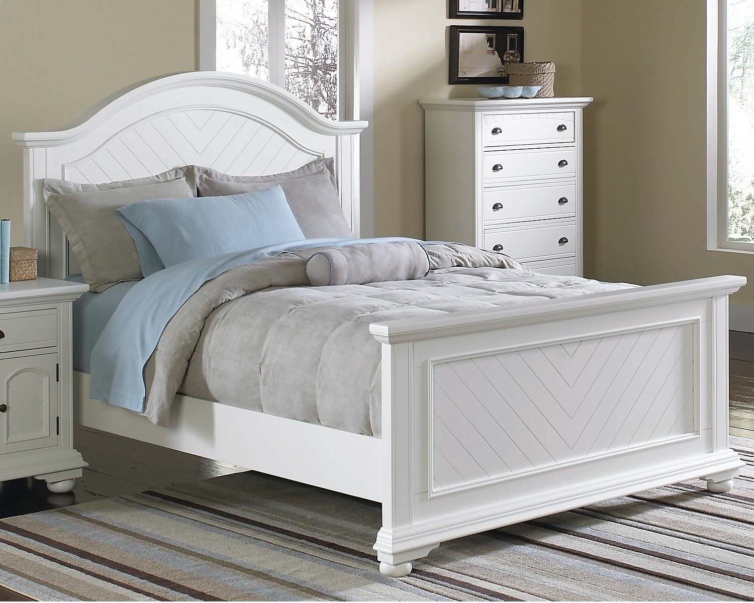 Bedroom Furniture - Brook Off-White Finish Queen Panel Bed