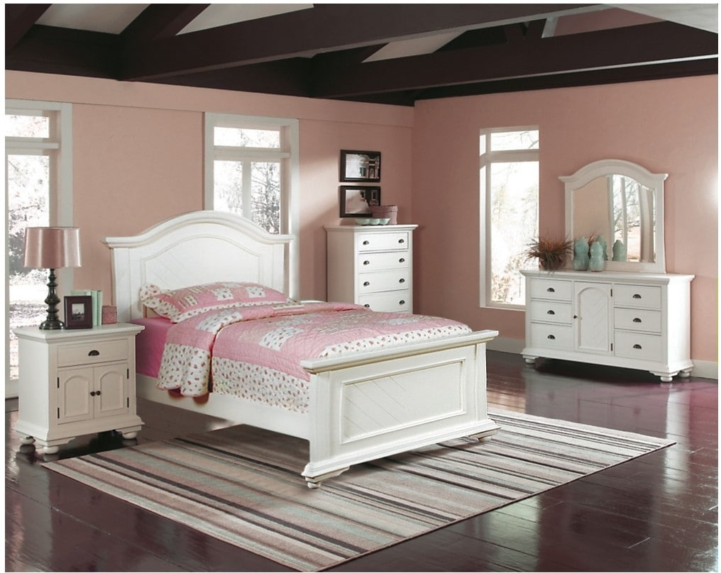 Bedroom Furniture - Brook Off-White 6-Piece Twin Panel Bedroom Set