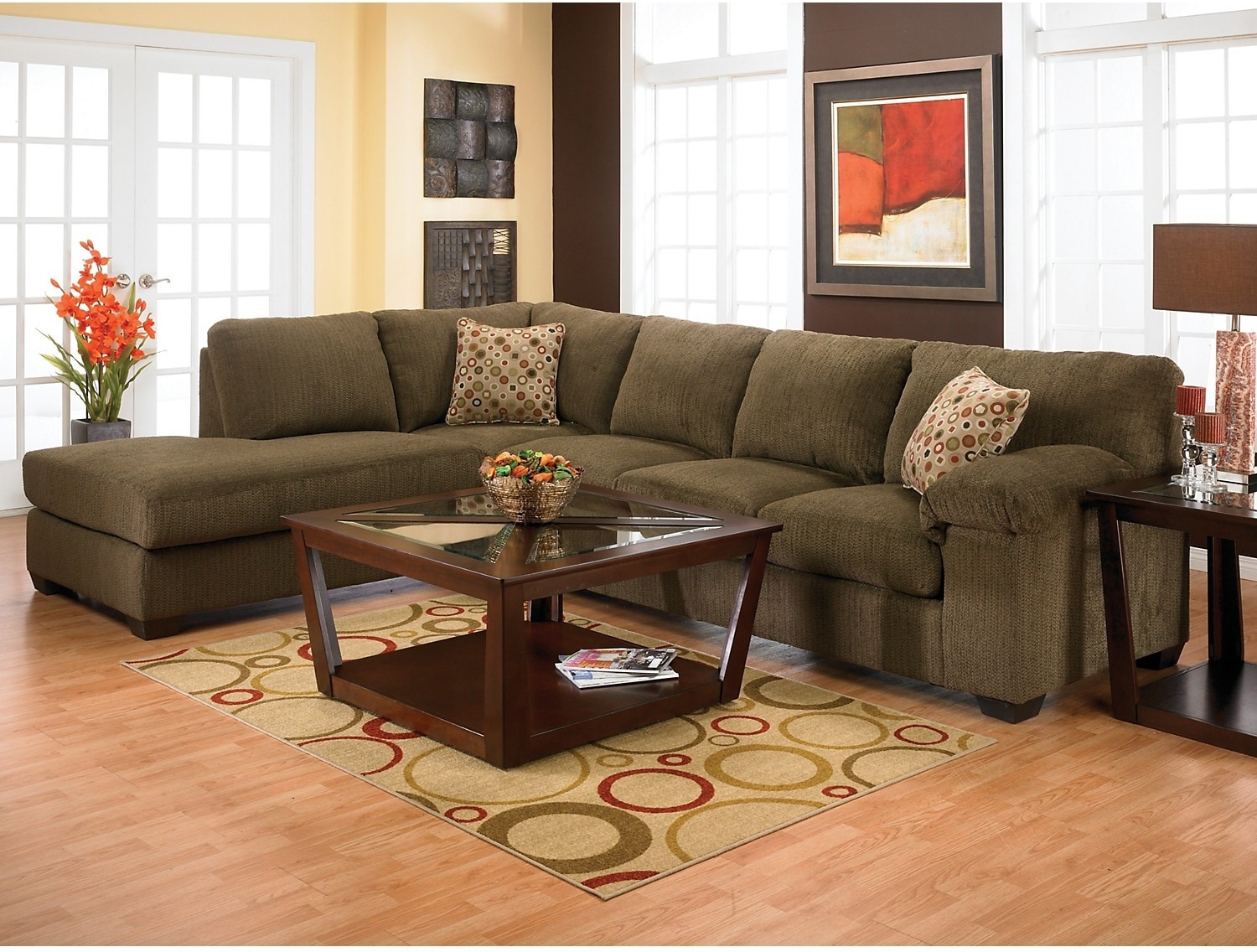 morty chenille sectional with left chaise brown the brick. Black Bedroom Furniture Sets. Home Design Ideas