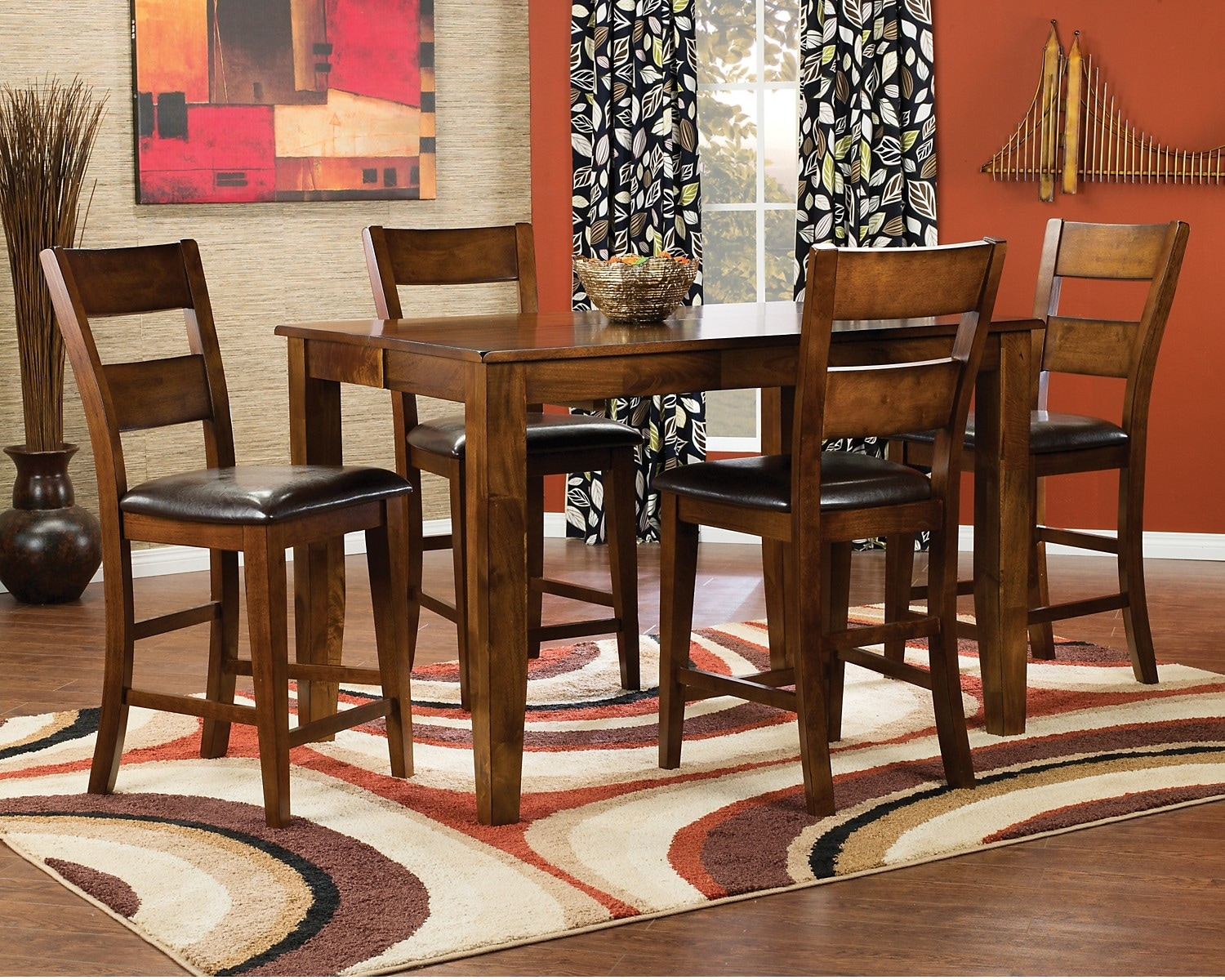 Dining Room Furniture - Dakota Light 5-Piece Pub Height Dining Package