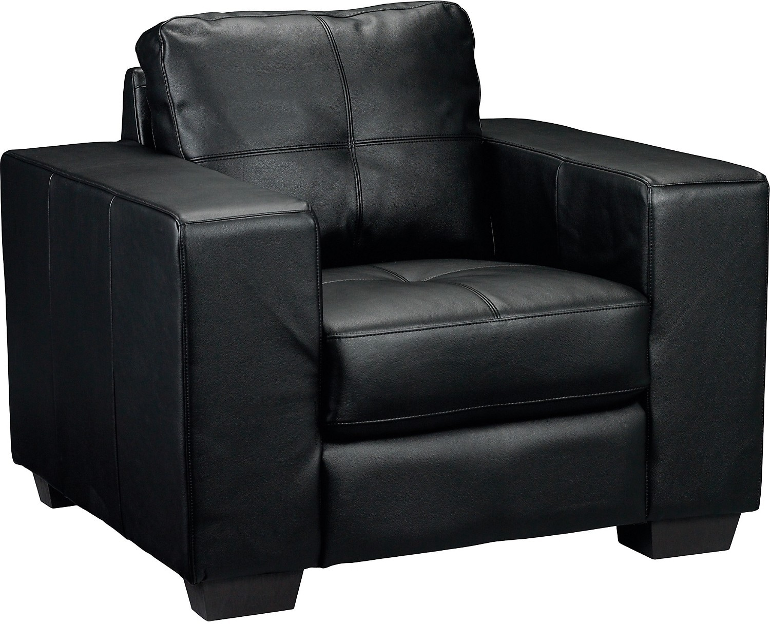 Living Room Furniture - Costa Black Bonded Leather Chair