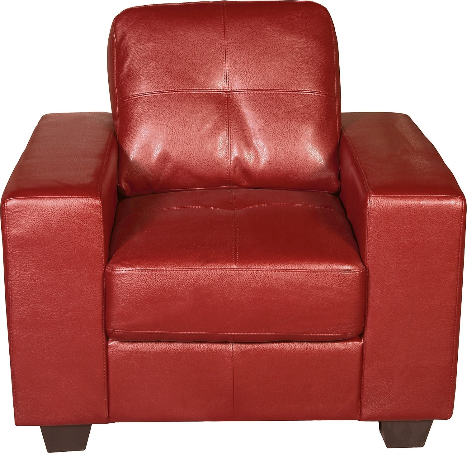 Living Room Furniture - Costa Red Bonded Leather Chair