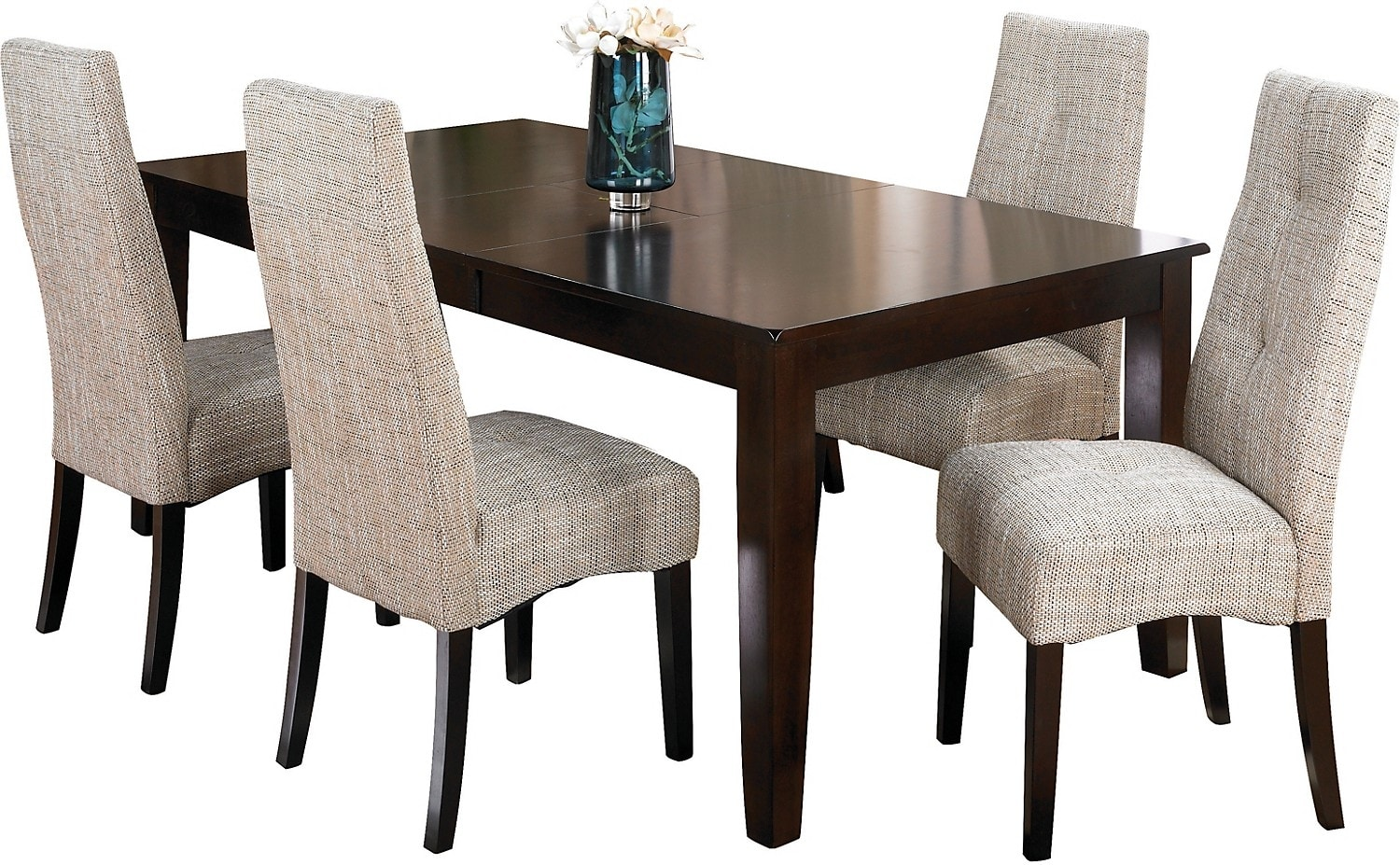 Dining Room Furniture - Dakota 5 Piece Dining Package w/ Linen Chairs