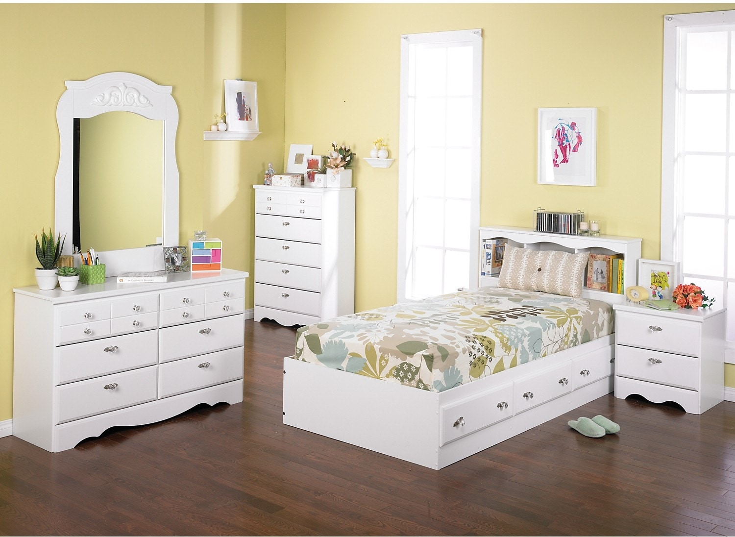 Kids Furniture - Diamond Dreams 6-Piece Twin Mates Bed Bedroom Package
