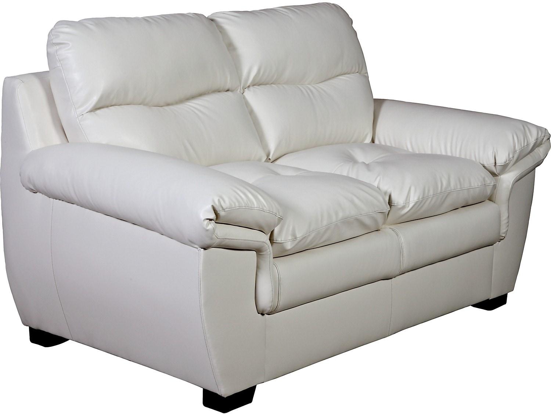 Living Room Furniture - E6 Cream Bonded Leather Loveseat