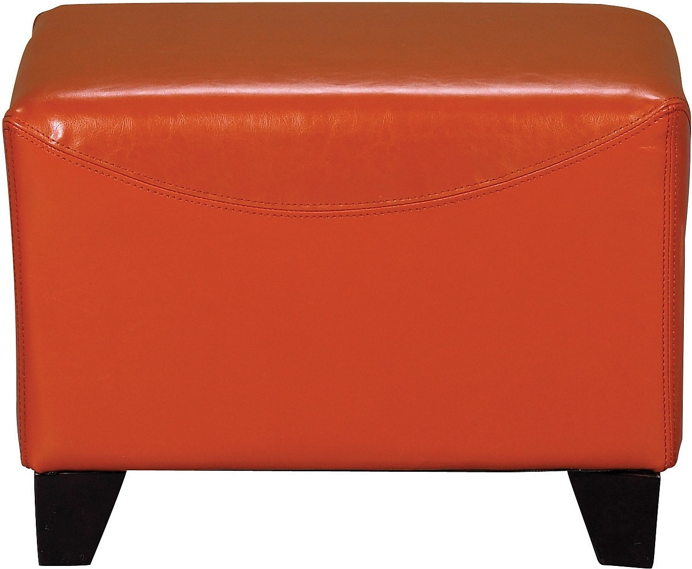 Living Room Furniture - Bonded Leather Ottoman - Spice