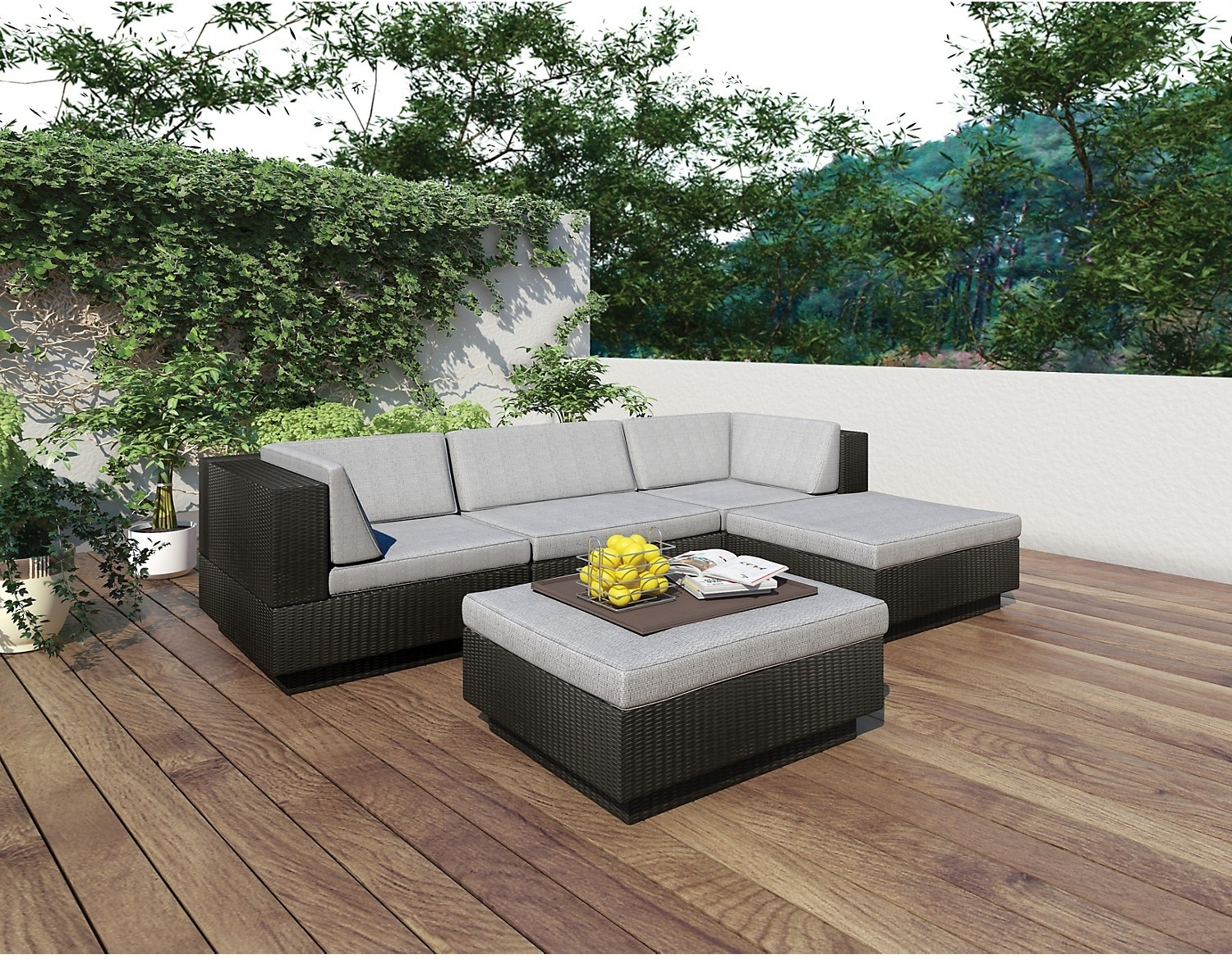 Park Terrace 5 Piece Patio Set – Black