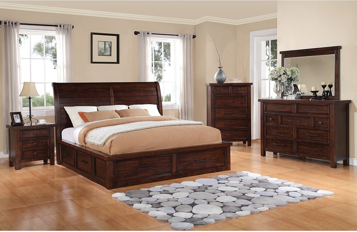 sonoma 5 piece king storage bedroom set dark brown the brick. Black Bedroom Furniture Sets. Home Design Ideas