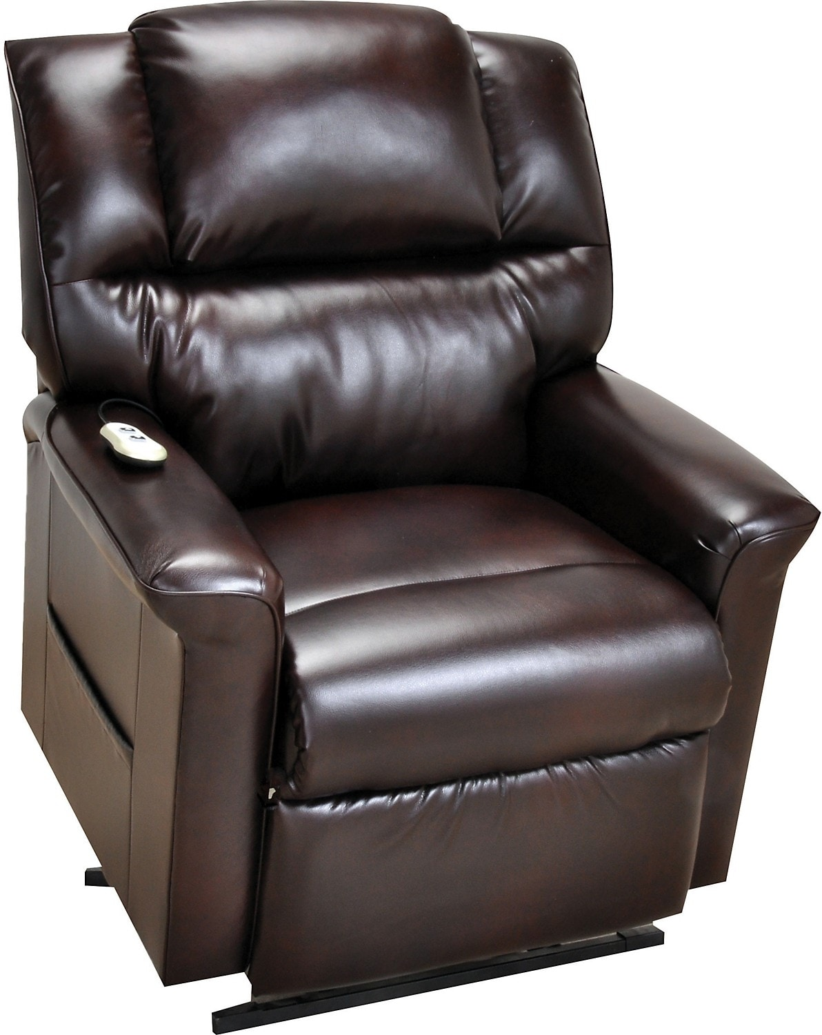 room furniture bonded leather 3 position power lift recliner brown