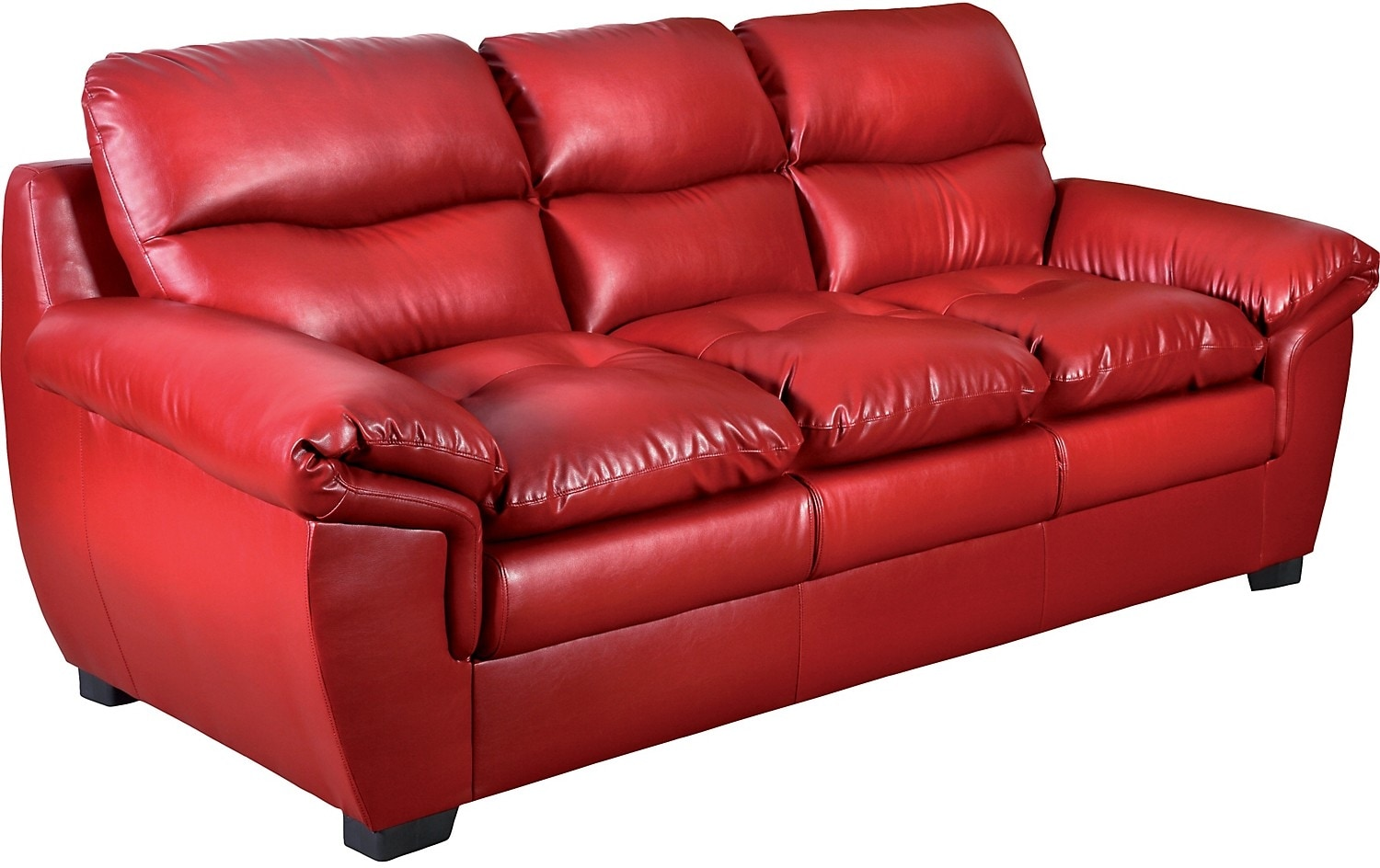 Living Room Furniture - E6 Red Bonded Leather Sofa