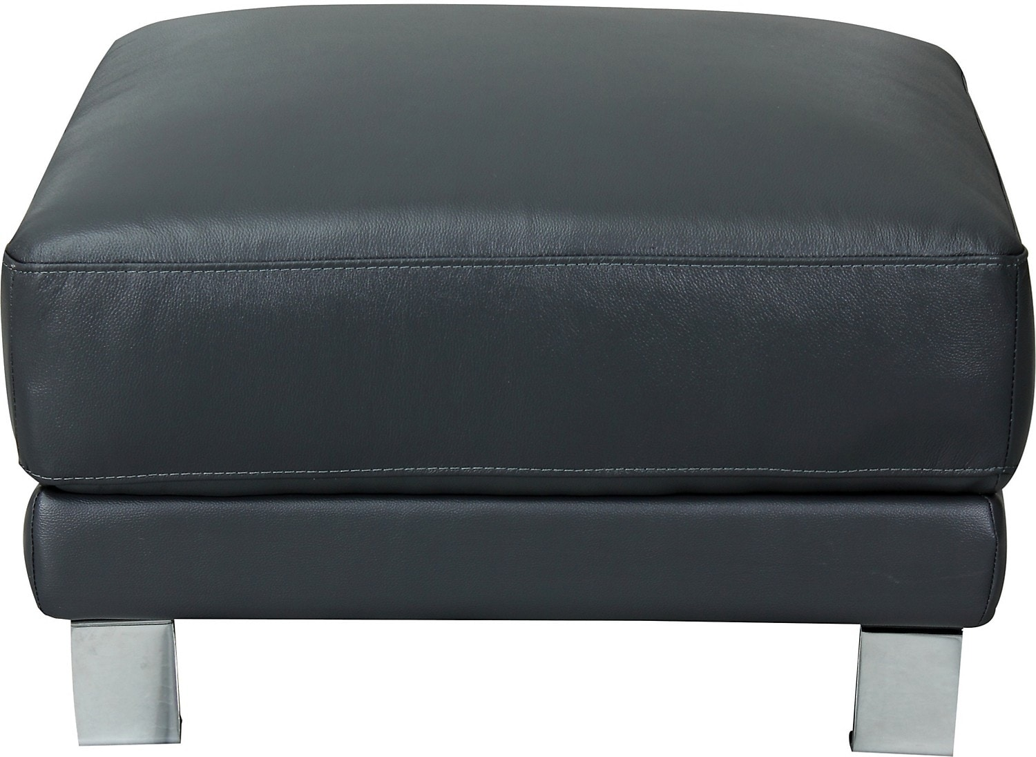 Nico Genuine Leather Ottoman - Grey