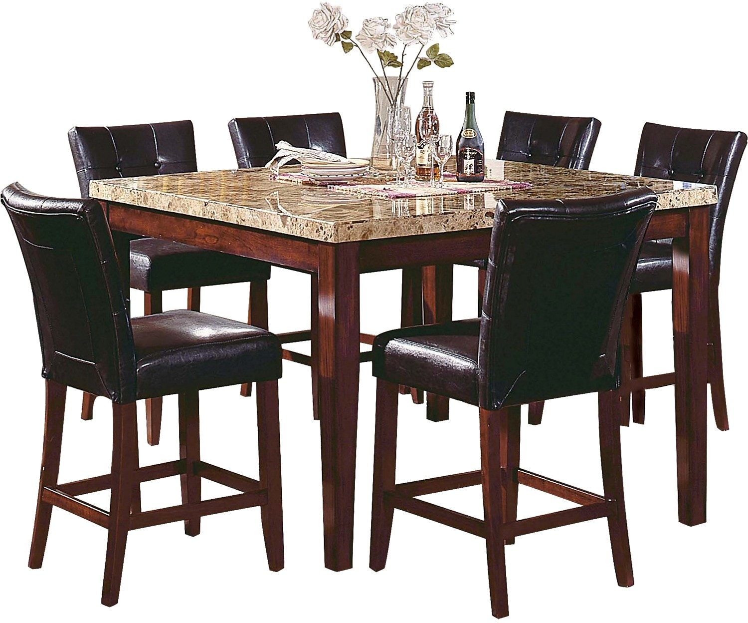 Dining Room Furniture - Montibello Counter Height Formal 7-Piece Dining Package