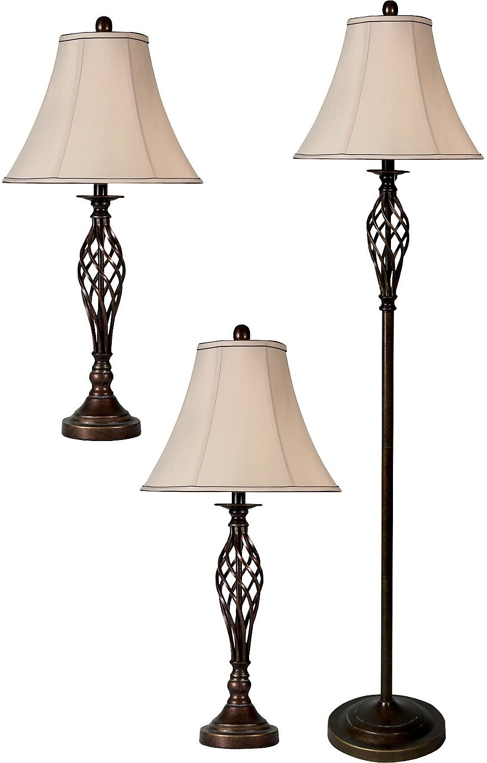 accessories dark brass cage 3 piece floor and two table lamps set. Black Bedroom Furniture Sets. Home Design Ideas