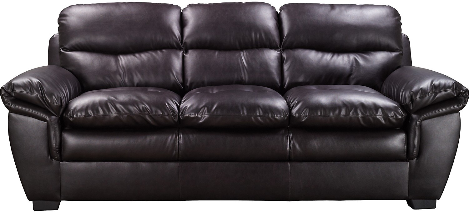 Living Room Furniture - E6 Brown Bonded Leather Sofa