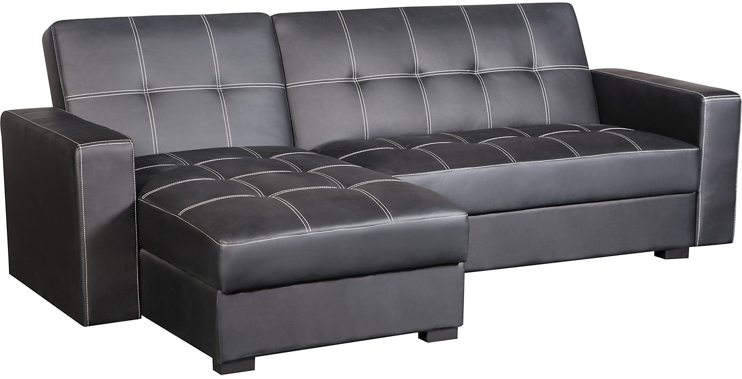 Belize 2 piece storage futon with chaise black united for Black sectional sofa with chaise