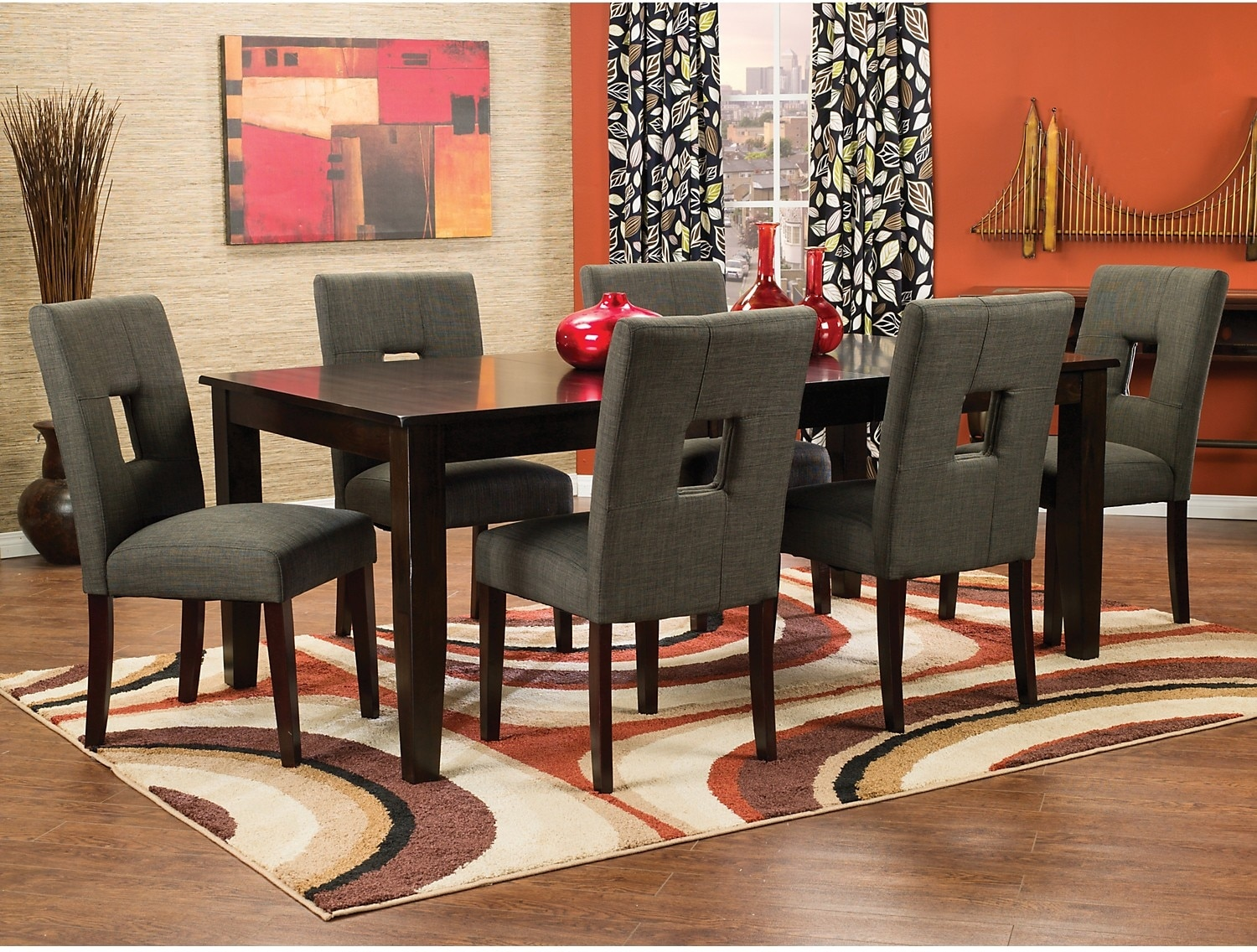 Dining Room Furniture - Dakota 8-Piece Dining Package with Grey Chairs
