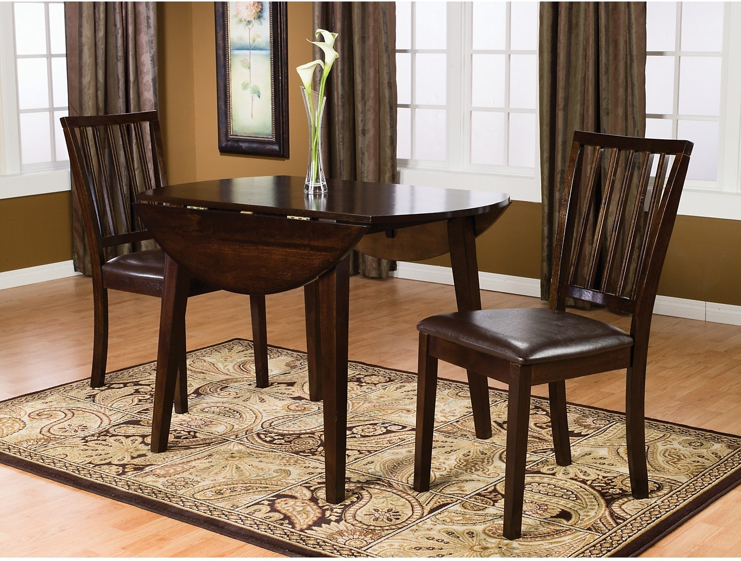 Dining Room Furniture Dakota 3 Piece Round Table Dining Package