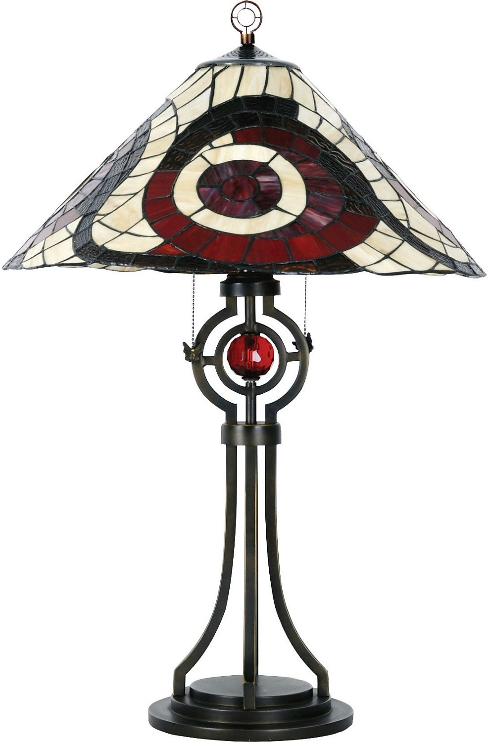 Cosmopolitan Table Lamp with Stained Glass Shade