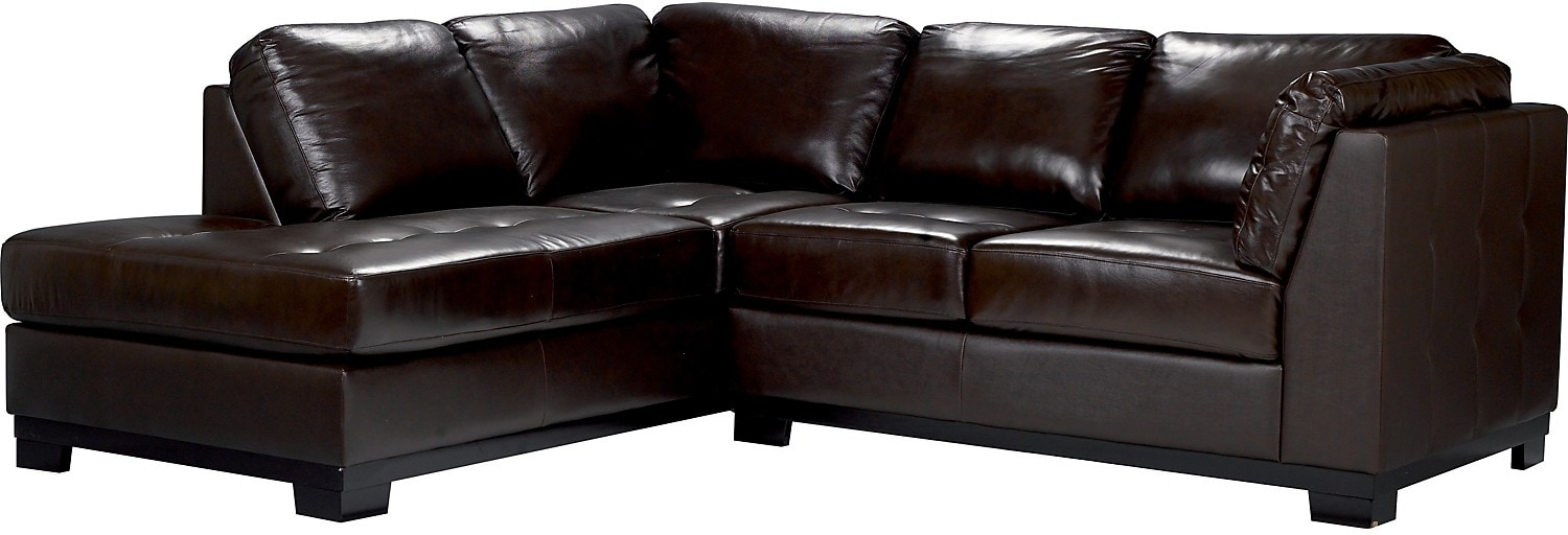 Living Room Furniture - Oakdale 2-Piece Genuine Leather Sectional w/Left-Facing Chaise - Brown