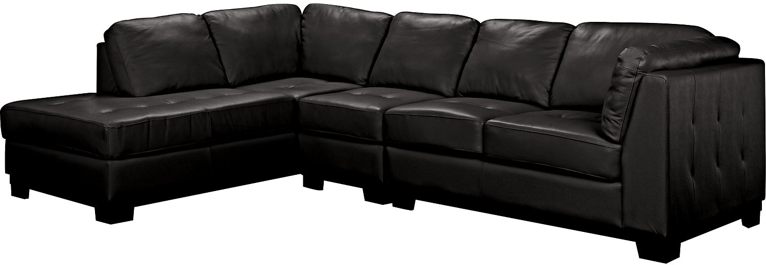 Living Room Furniture - Oakdale 3-Piece Leather Left-Facing Sectional - Black