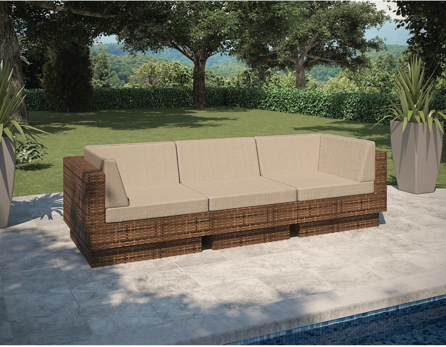 Outdoor Furniture - Parkview 3 Piece Sectional - Brown