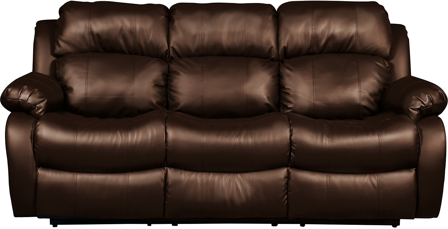 Living Room Furniture - Omega 2 Bonded Leather Reclining Sofa – Brown