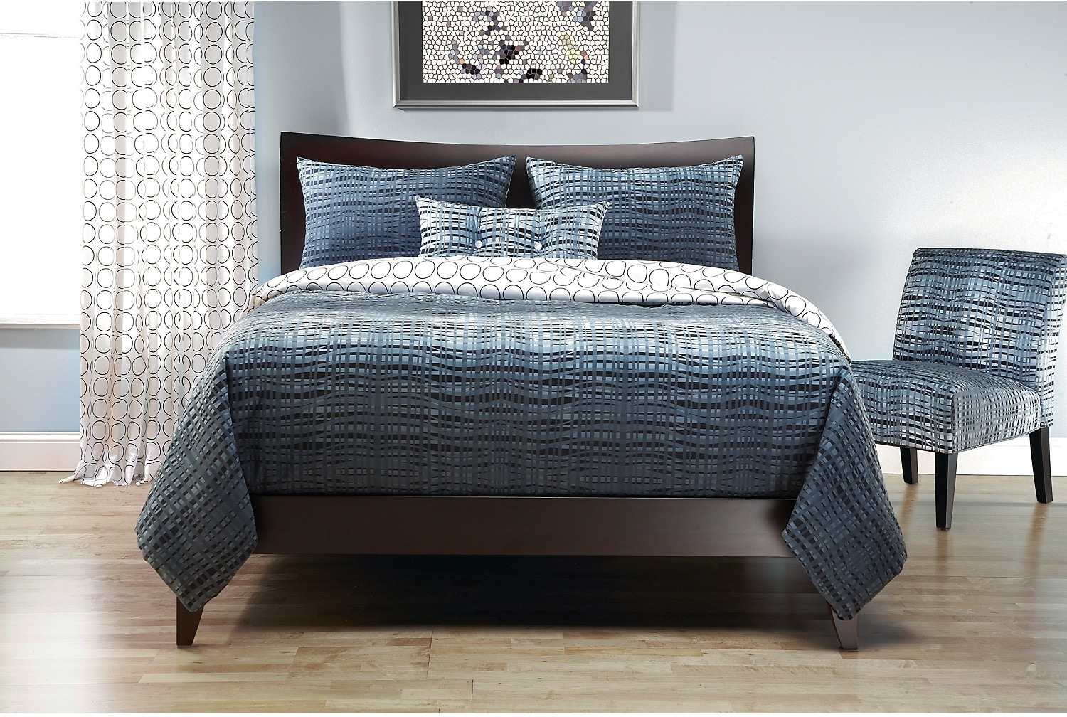 Mattresses and Bedding - Interweave Reversible 4 Piece Queen Duvet Cover Set