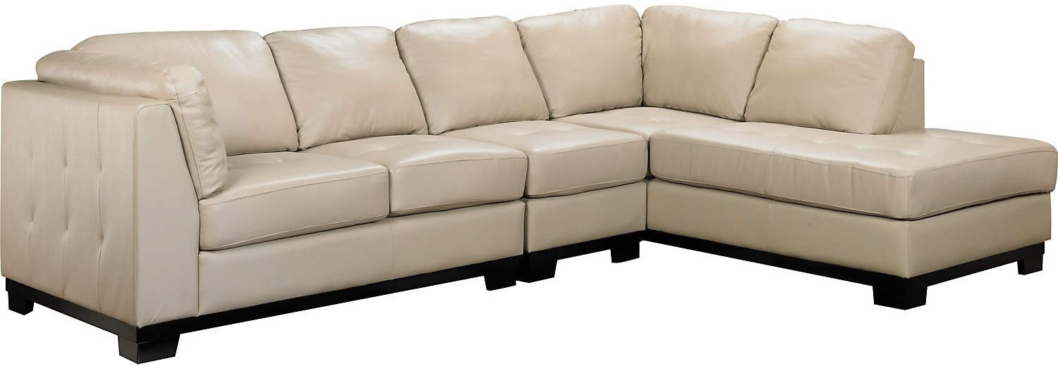 Living Room Furniture - Oakdale 3-Piece Leather Right-Facing Sectional - Taupe