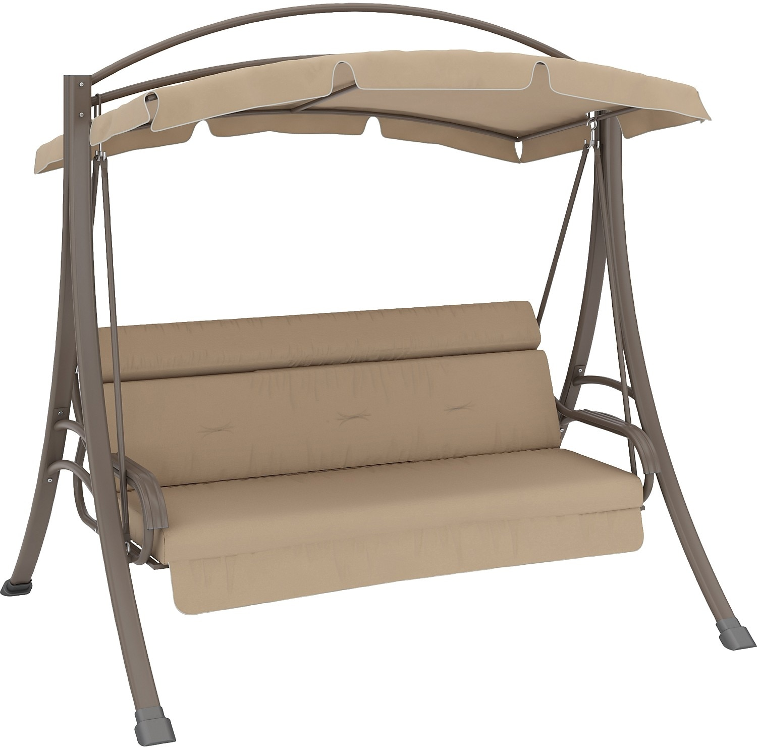 Outdoor Furniture - Nantucket Patio Swing with Arched Canopy - Beige