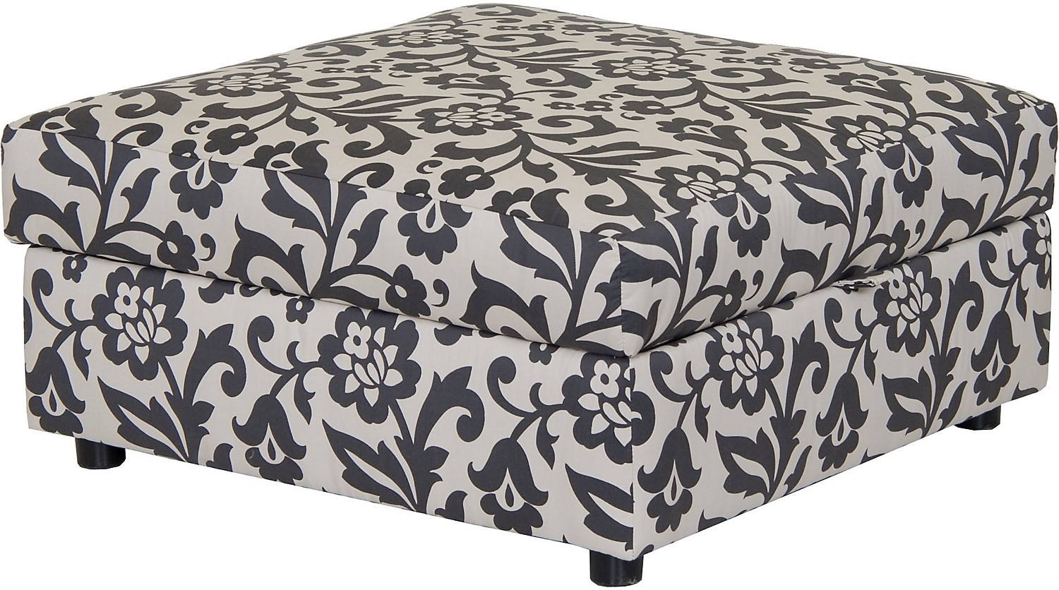 Living Room Furniture - Designed2B Fabric Square Storage Ottoman - Dove