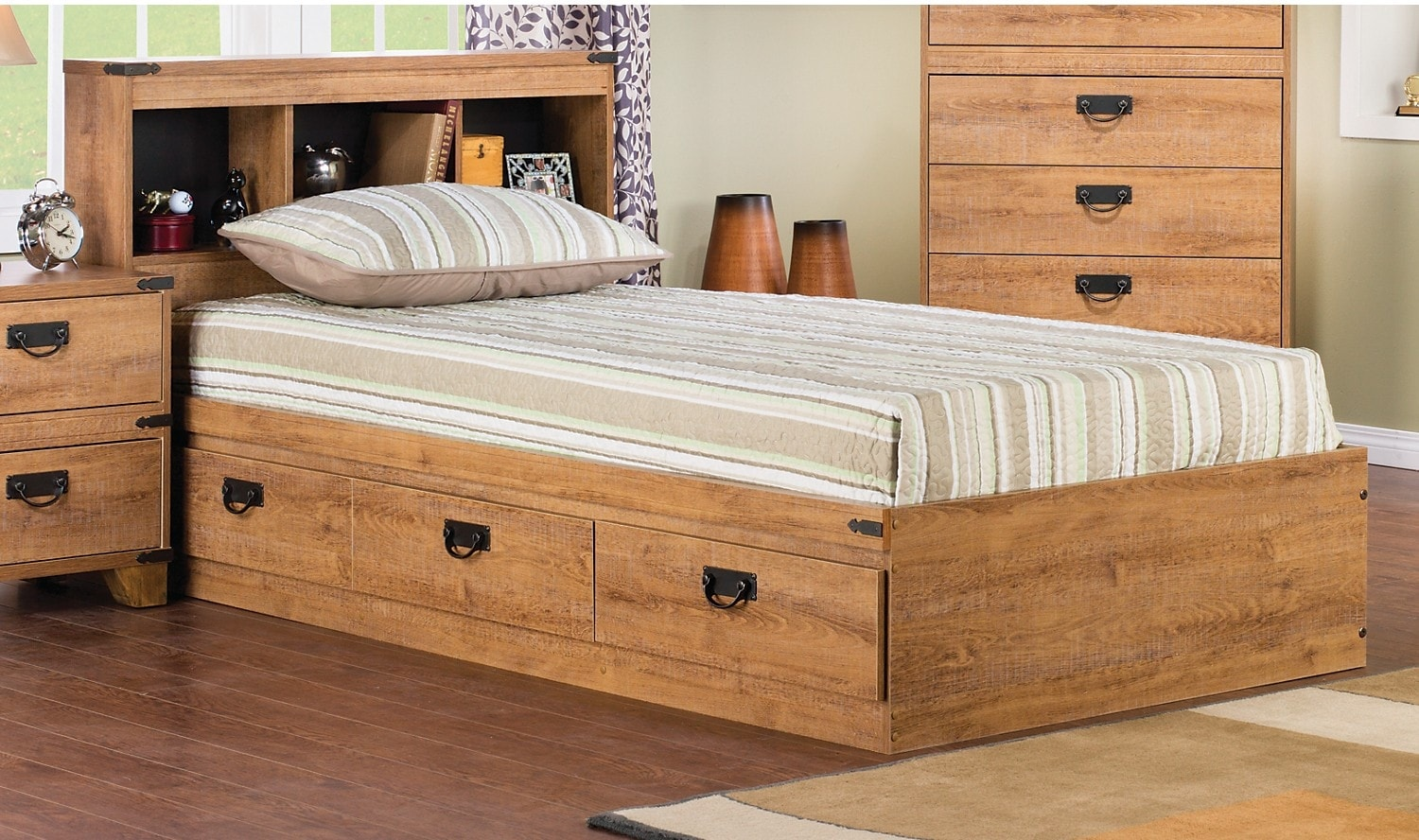 Driftwood mates bed with headboard the brick for Furniture and beds