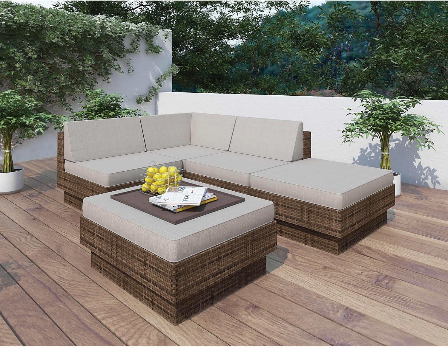 Parkview 5 piece patio sectional set brown the brick for Meuble patio