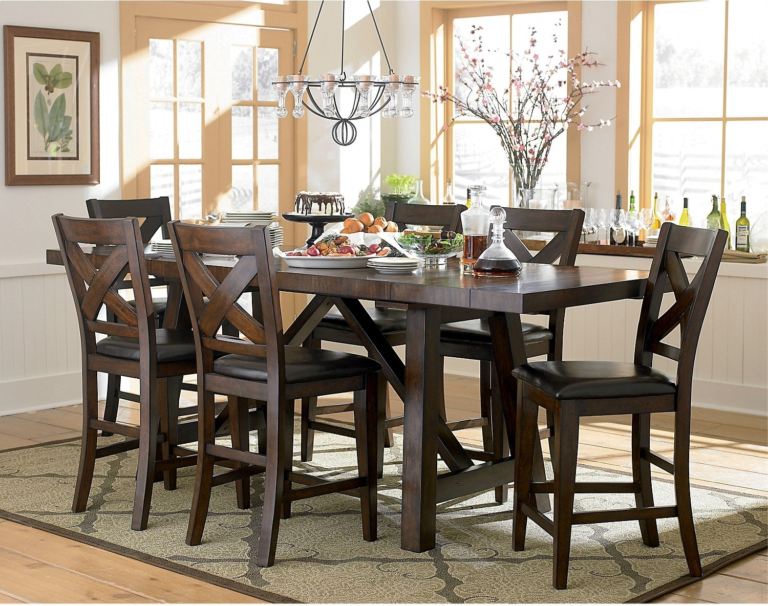 Dining Room Furniture - Adara 8-Piece Counter Height Dining Package