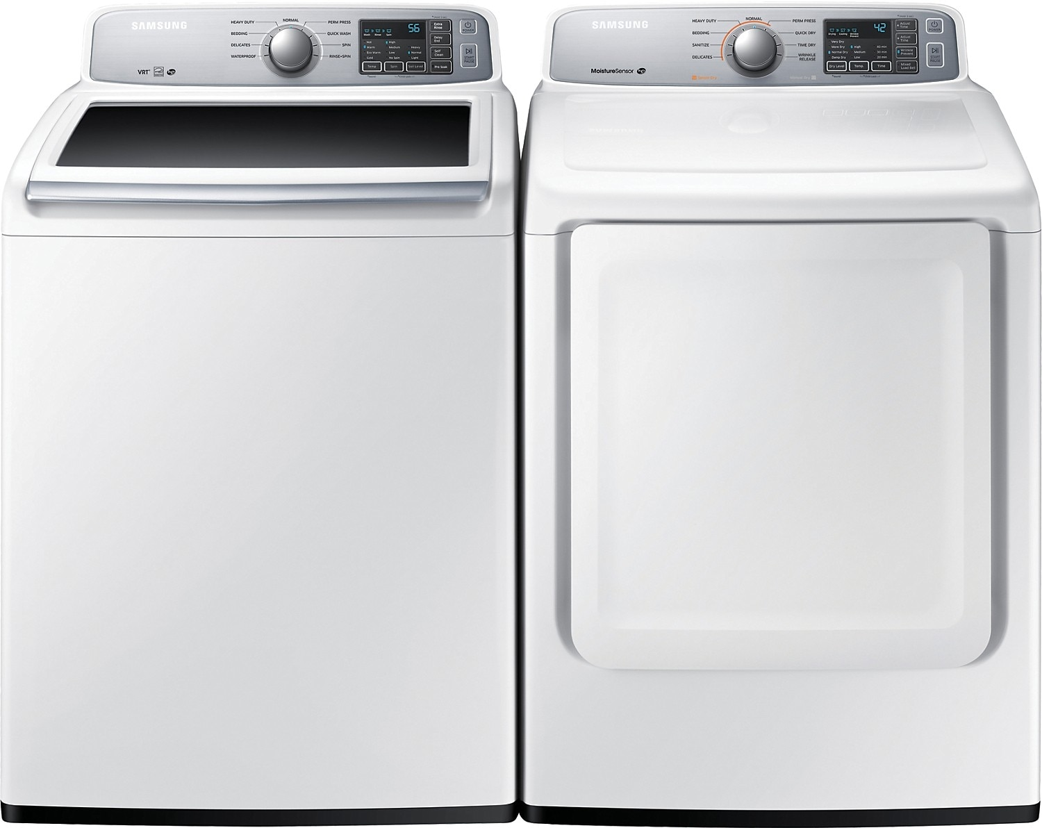 Washers and Dryers - Samsung 5.2 Cu. Ft.  Top-Load Washer and 7.4 Cu. Ft. Electric Dryer - White