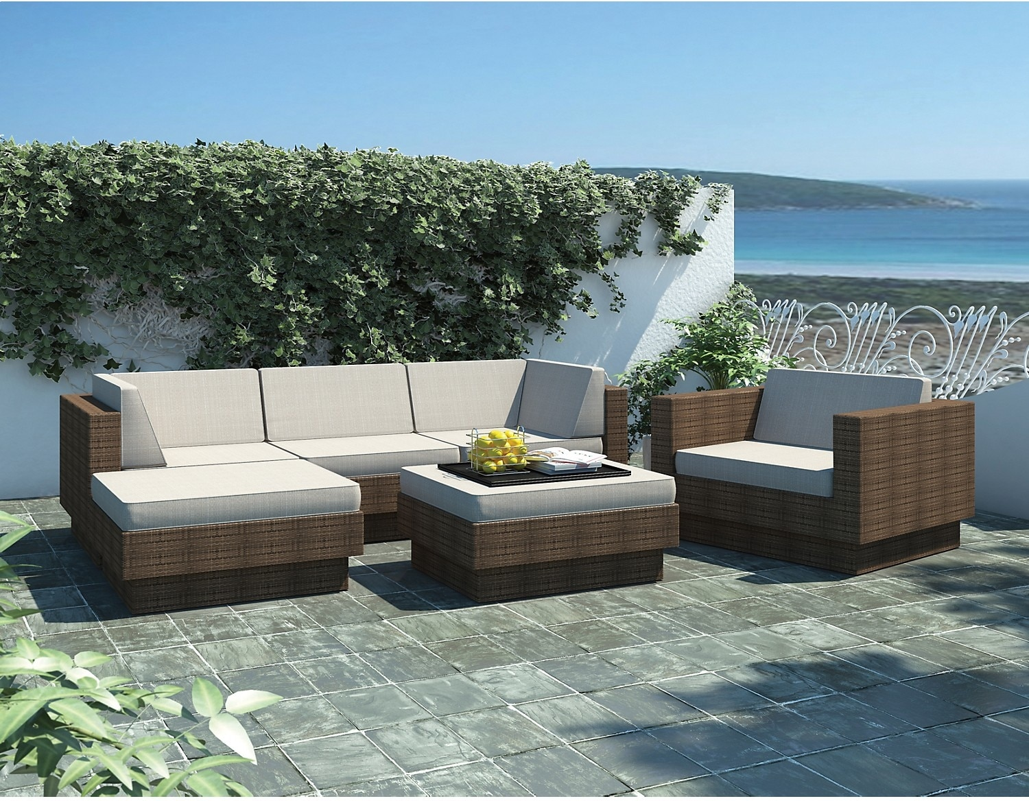 Outdoor Furniture - Park Terrace 6 Piece Patio Set – Brown