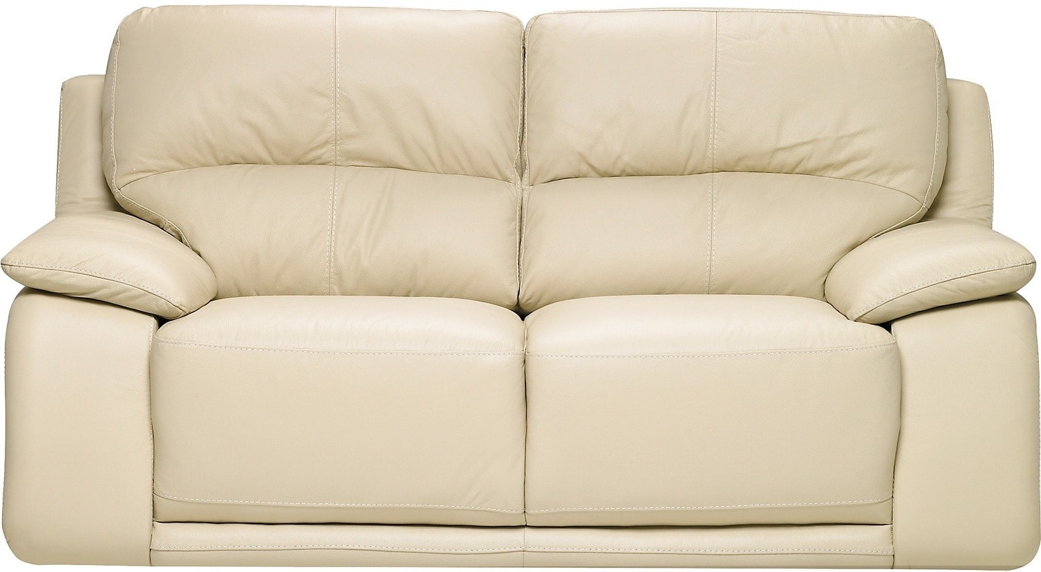Living Room Furniture - Chateau d'Ax 100% Genuine Leather Loveseat - Ivory