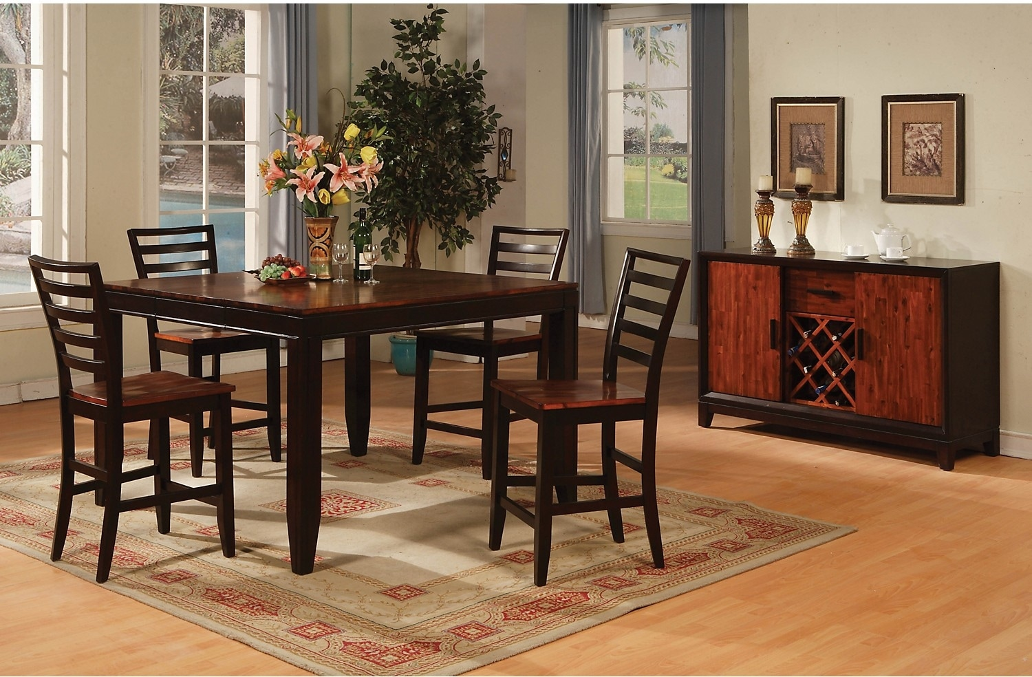 Dining Room Furniture - Zara 5-Piece Counter Height Dining Package