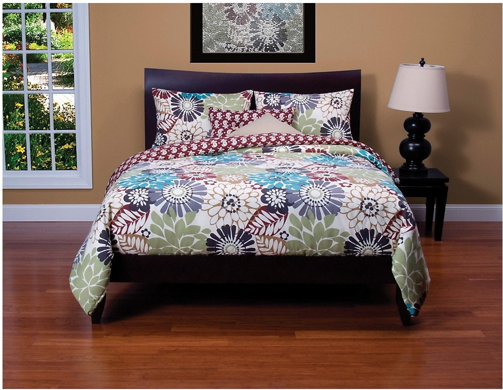 Mattresses and Bedding - Blooming Bulb Harvest Reversible 4 Piece Queen Duvet Cover Set