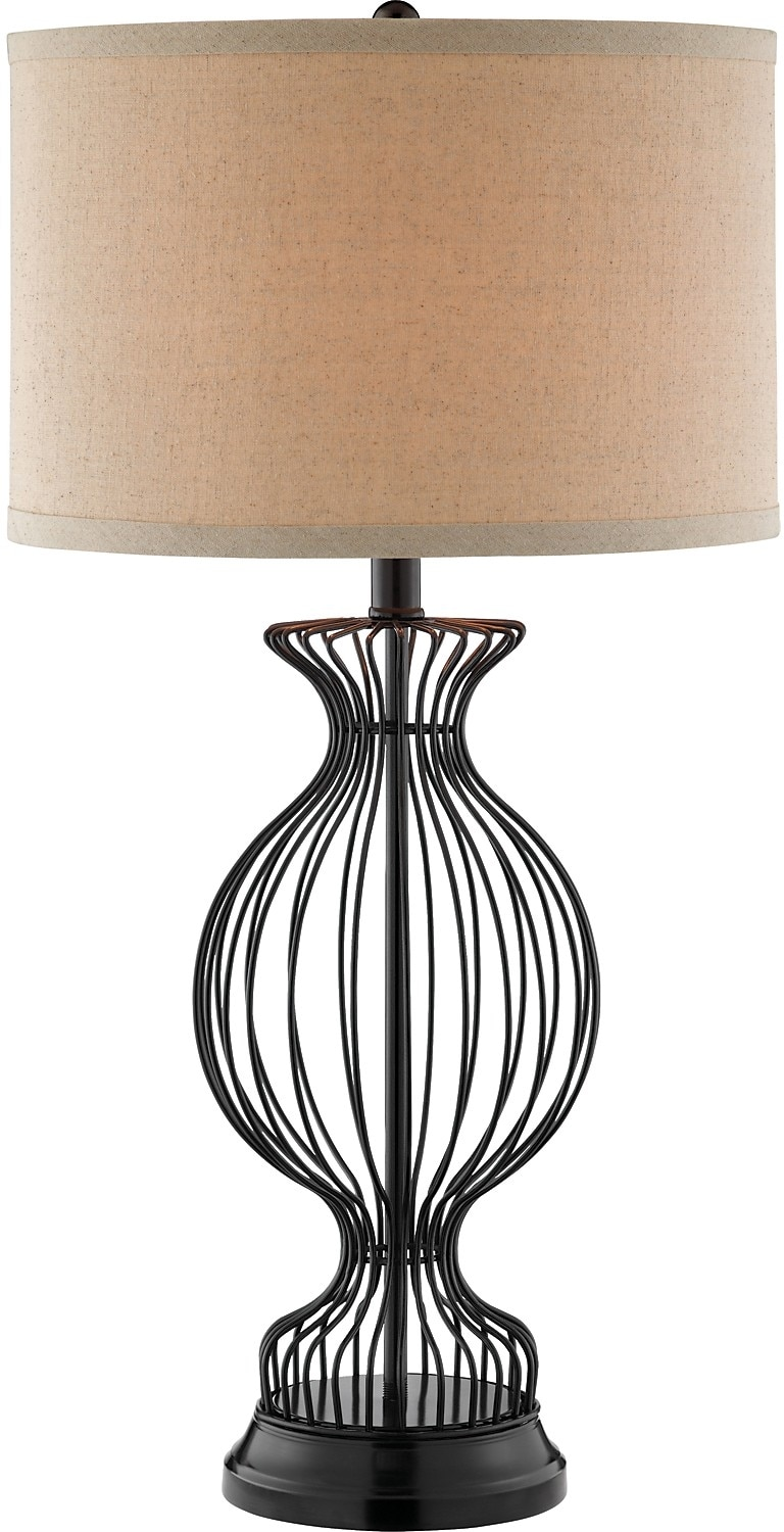 Home Accessories - Trophy Cage Table Lamp with Natural Linen Shade