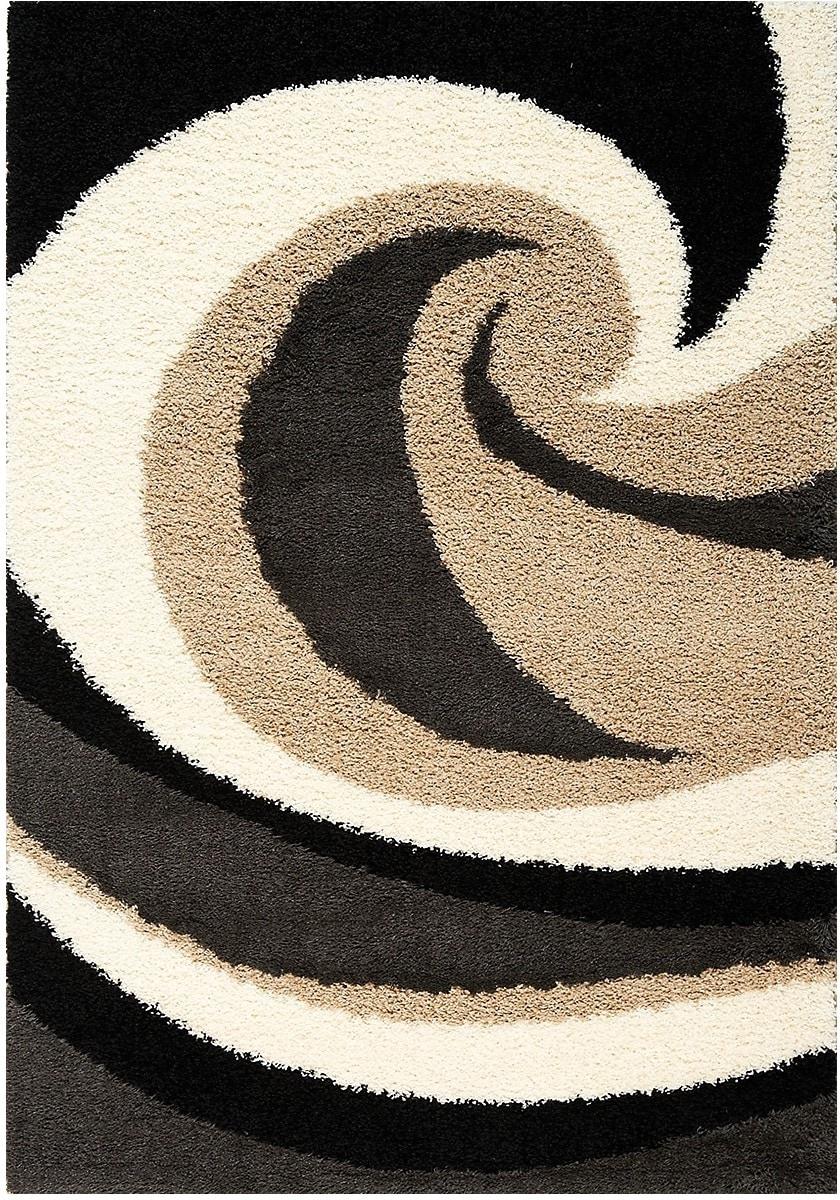 Rugs - Shaggy Black, Brown and Cream Area Rug - 5u0027x 8u0027