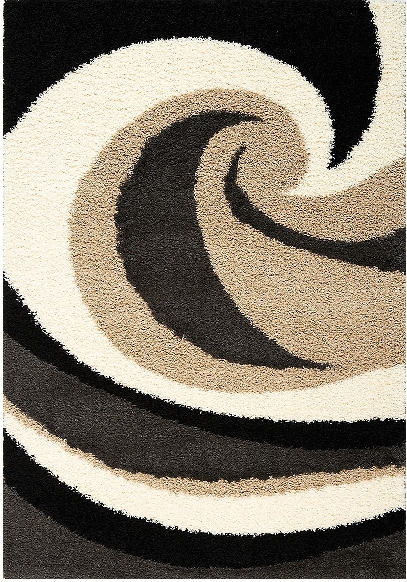 Shaggy Black, Brown and Cream Area Rug – 5'x 8'