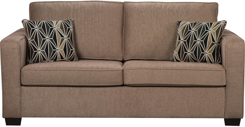 Freya chenille sofa oak united furniture warehouse for Meuble brick sherbrooke
