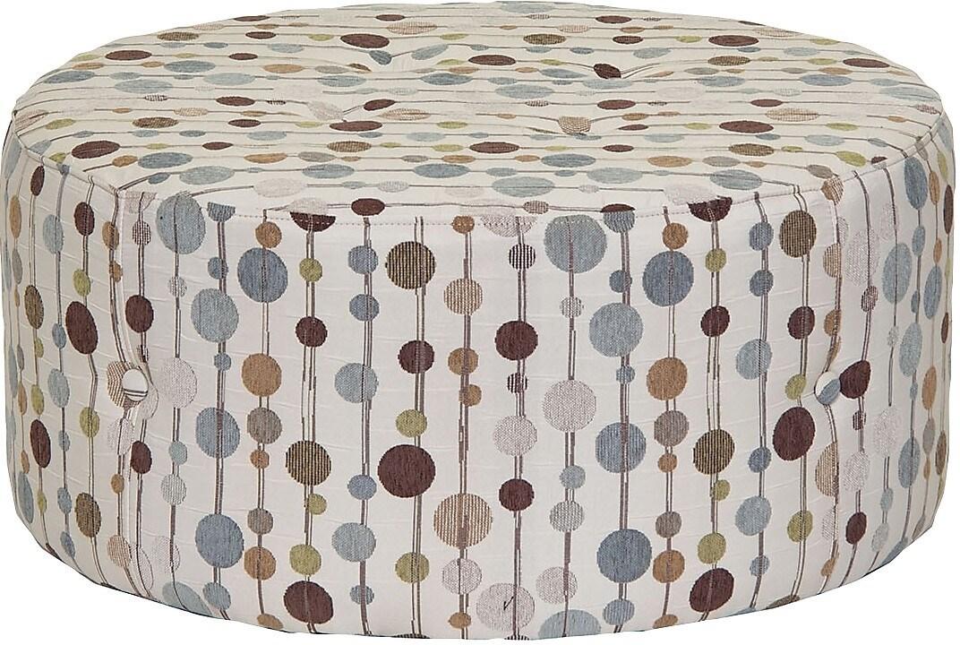 Living Room Furniture - Designed2B Fabric Round Ottoman - Bermuda