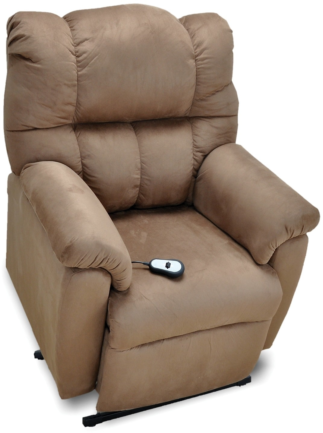Living Room Furniture - Padded Microsuede 3-Position Power Lift Recliner - Brown