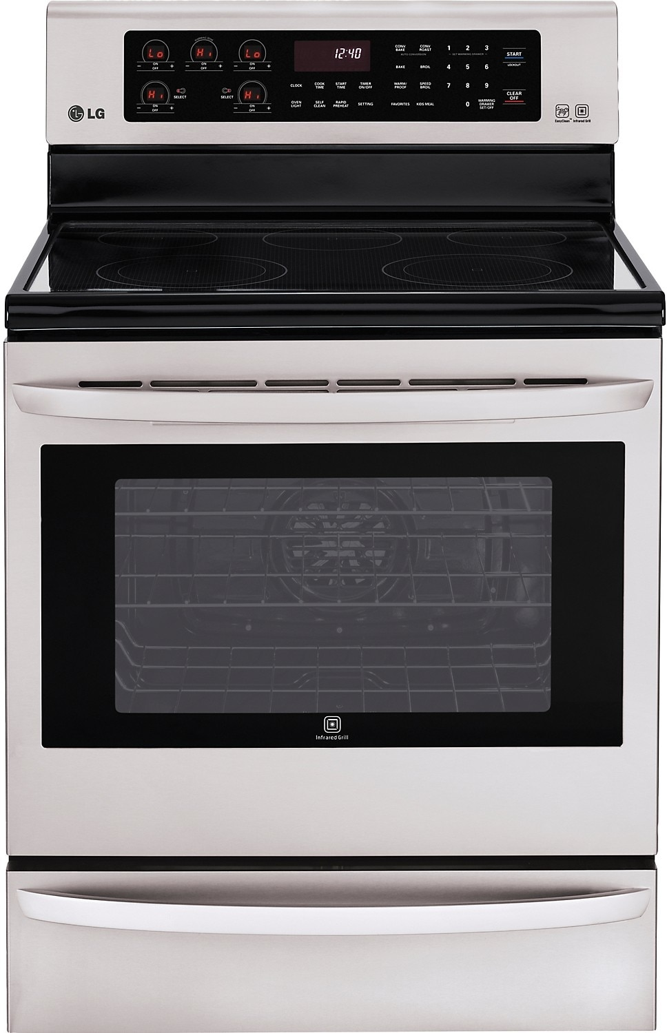 Cooking Products - LG 6.3 Cu. Ft. Freestanding Electric Range with Infrared Grill - Stainless Steel