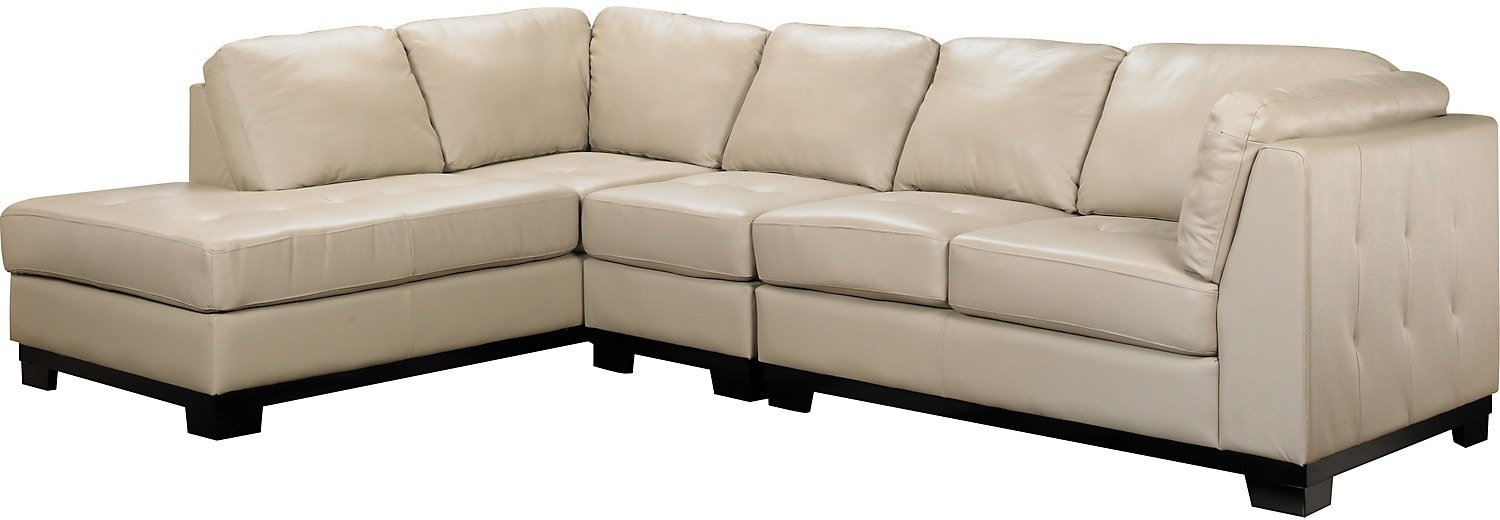Living Room Furniture - Oakdale 3-Piece Leather Left-Facing Sectional - Taupe