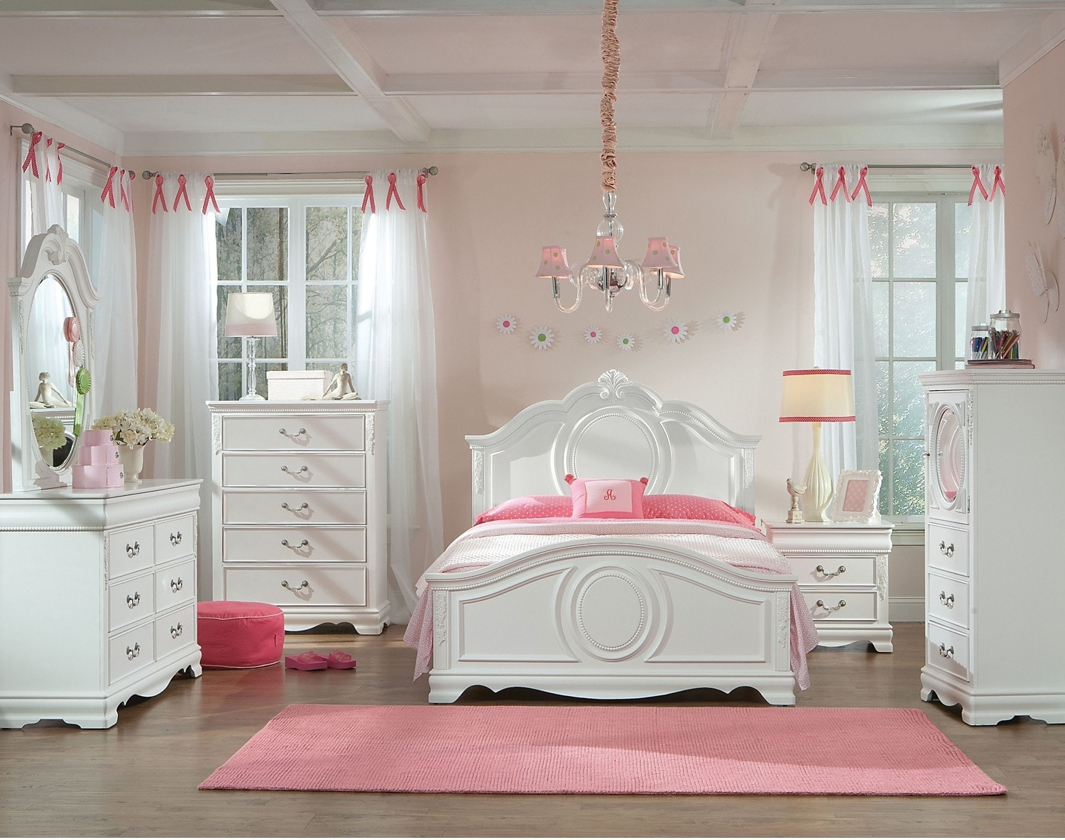 Kids Furniture - 6-Piece Jessica White Finish Full Bedroom